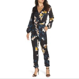 KNOT SISTERS Josie Floral Satin Jumpsuit Size S